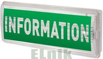 """Пиктограмма """"INFORMATION"""" для аварийных светильников 506,506L,507L e.pict.inform.225.80"""