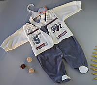 Велюровый человечек для мальчика  68-74 см / 9мес