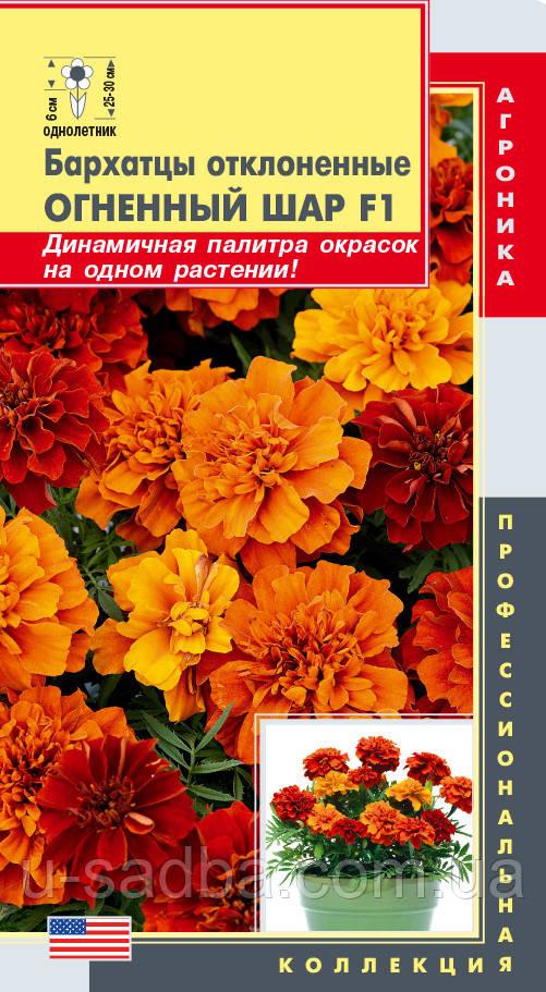 Семена цветов  Бархатцы отклоненные Огненный шар F1 7 штук смесь (Плазменные семена)