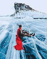 Картина по номерам Красный шарф на льдине байкала - 228951