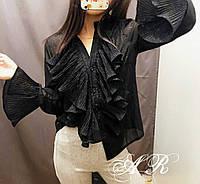 Чёрная женская блузка из мультишифона