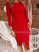 Платье женское, до колена, повседневное, стильное, трикотаж рибана, удобное, офисное, модное, до 48 р, фото 1