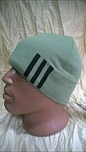 Спортивная мужская шапка двойная   цвет оливковый