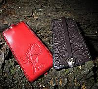 Ключница Bell из натуральной кожи красный