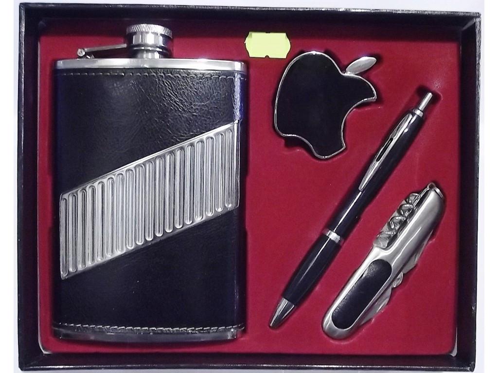 Набір: фляга 270 мл + запальничка + ручка + складаний ніж.