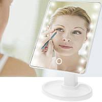 Настільне дзеркало для макіяжу Mirror з LED підсвічуванням 16 діодів квадратне Білий