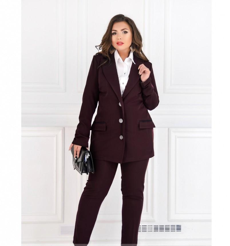 Стильный, элегантный деловой костюм-двойка №127-марсала