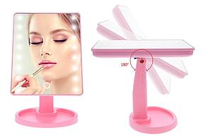 Настільне дзеркало для макіяжу Mirror з LED підсвічуванням 16 діодів квадратне Рожевий