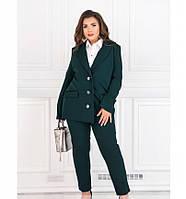 Стильный, элегантный деловой костюм-двойка №127-темно-зеленый, фото 1