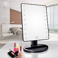 Настільне дзеркало для макіяжу Mirror з LED підсвічуванням 16 діодів квадратний Чорний