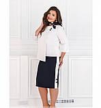 Очень женственный и очень нарядный костюм-двойка №128-бело-синий, фото 2