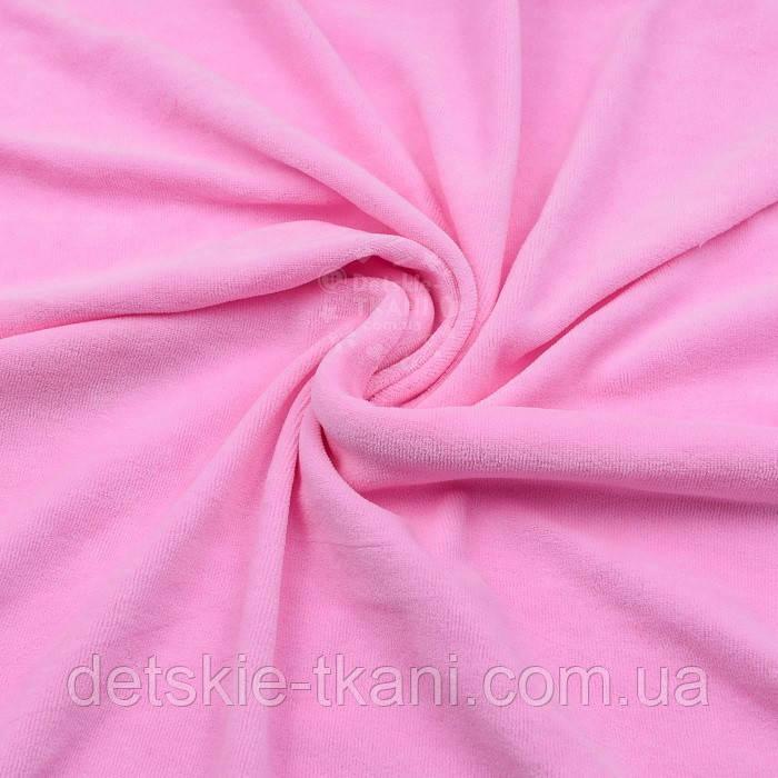 Лоскут однотонного  ХБ велюр  светло-розового цвета, размер 40*180 см