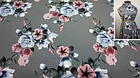 """Ткань супер-софт серого цвета цветочный принт """"Лея"""", фото 1"""