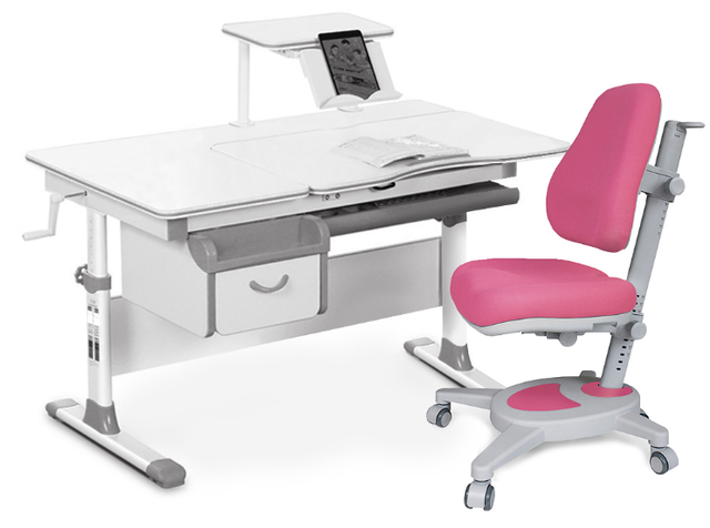 Комплект Evo-kids Evo-40 G Grey (арт. Evo-40 G + кресло Y-110 KP) /(стол+ящик+полка+кресло)/ белая столешница, цвет пластика серый