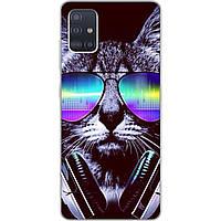 Силиконовый чехол с рисунком для Samsung A51 2020 Galaxy A515 Кот музыкант