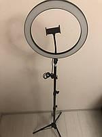 Профессиональная кольцевая светодиодная LED лампа 30 см 26 ват с держателем для телефона и штативом