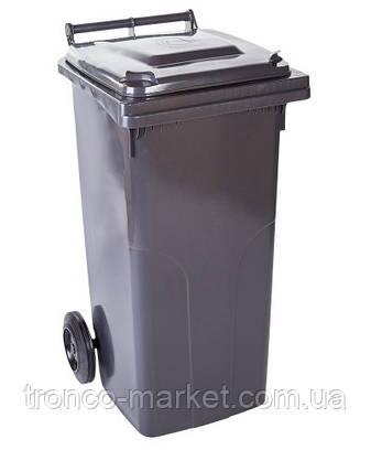 Контейнер для мусора на колесах 120л, пластик,Украина, темно-серый, фото 2