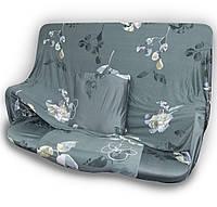 🔝 Универсальный еврочехол на одноместный диван кресло (Серый в цветок) 90-140 см | накидка чехол | 🎁%🚚