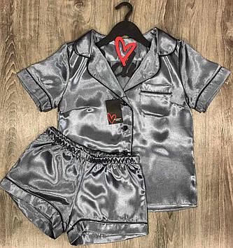 Атласная домашняя женская одежда ТМ Exclusive Рубашка и шорты с кантом.