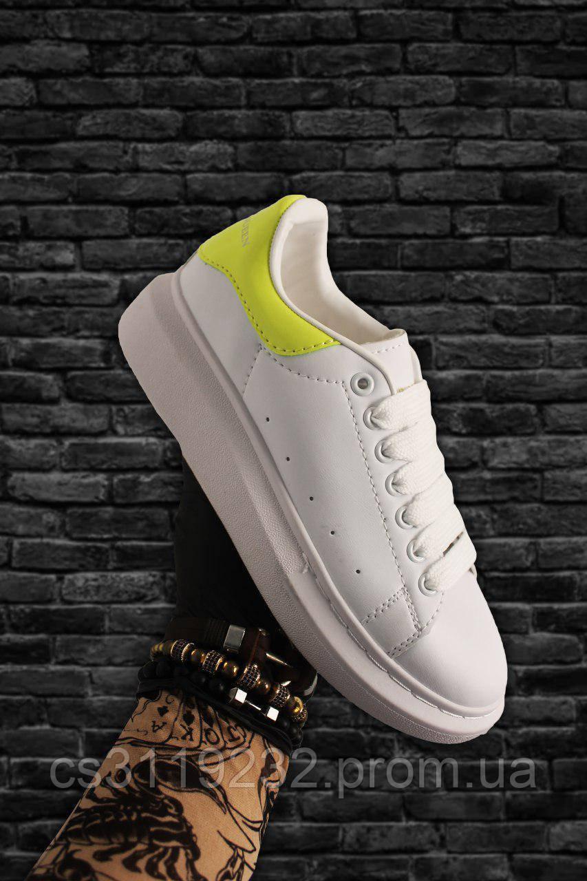 Женские кроссовки White Yellow  (бело-желтые)