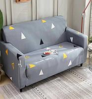 🔝 Универсальный еврочехол на одноместный диван кресло (Серый в треугольник) 90-140 см | накидка чехол | 🎁%🚚
