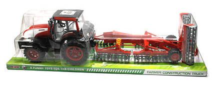 Трактор великий з жаткою інерційний, 0488-156 в слюді 88х23х23см