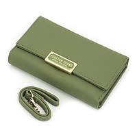Женский Кошелек Портмоне на Кнопке для Карточек с Ремешком Weichen (7370-38) Зеленый