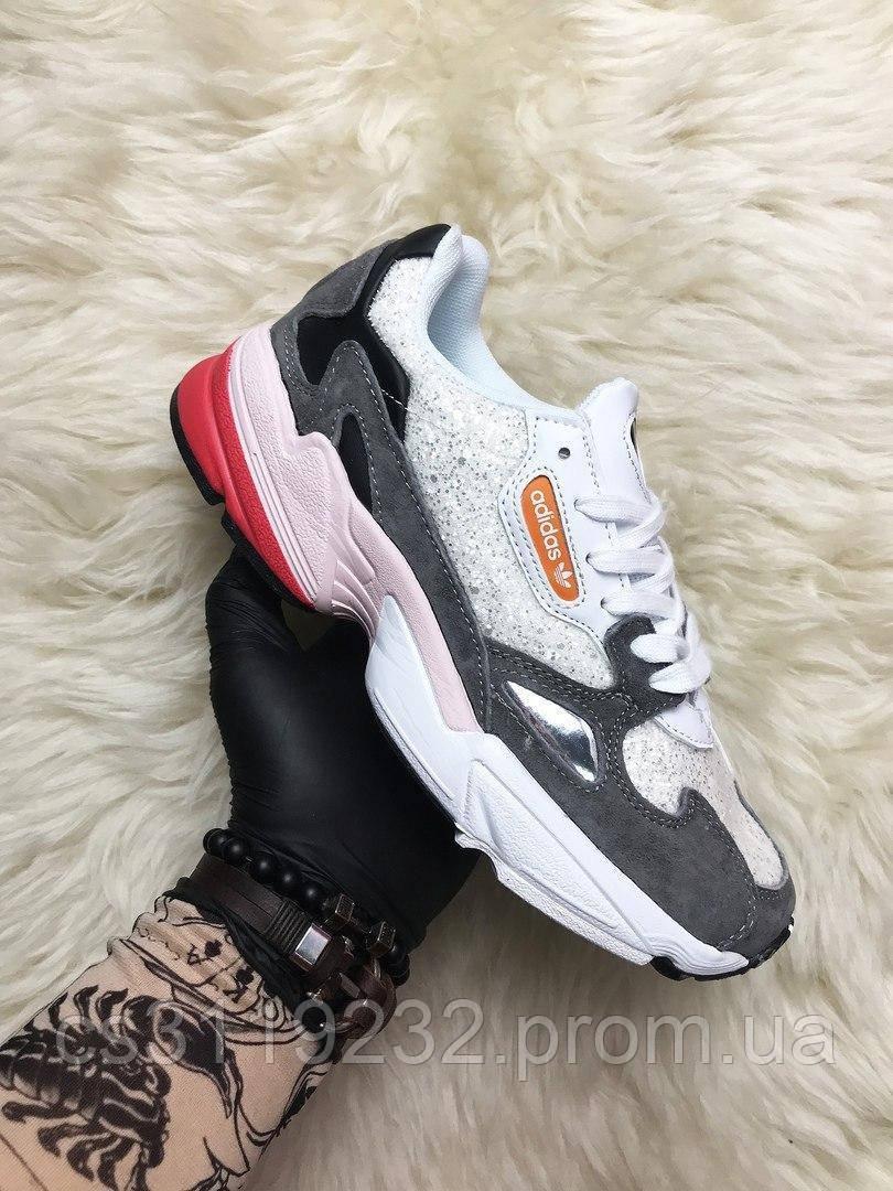 Жіночі кросівки Adidas Falcon White Grey Black Pink (мультиколор)