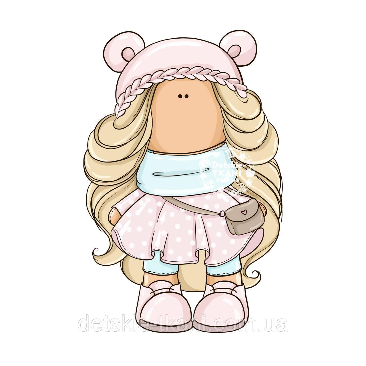 "Панелька из сатина для подушки размером 40*40 см ""Кукла Лена"""