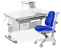 Комплект Evo-kids Evo-40 G Grey (арт. Evo-40 G + кресло Y-528 SB) /(стол+ящик+полка+кресло)/ белая столешница,