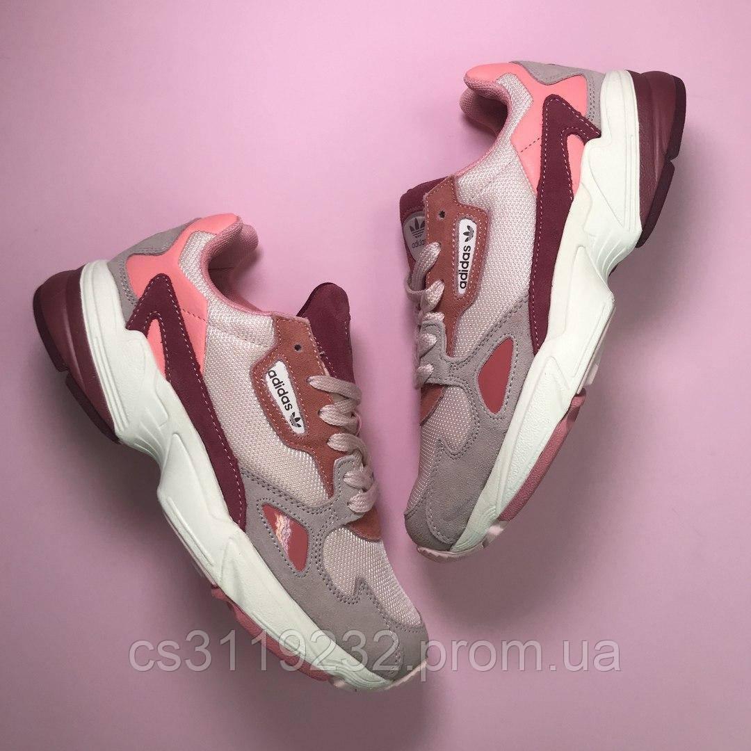Женские кроссовки Adidas Falcon Pink Burgundy (розово-бардовый)