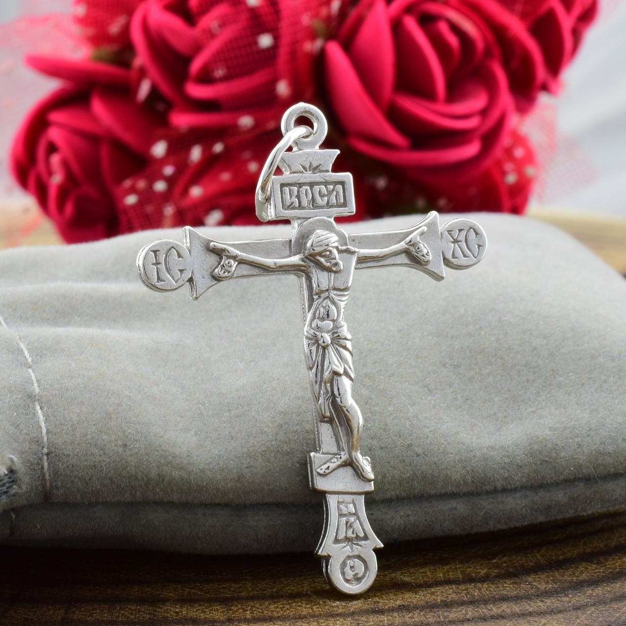 Серебряный крест Православный Спаси и сохрани размер 38х26 мм вес 3.5 г