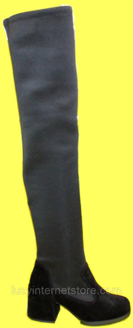 Високі ботфорти чоботи жіночі на підборах від виробника модель КА1019