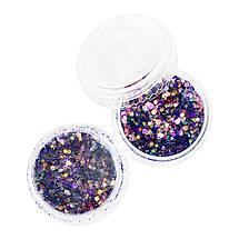 Монетки для дизайна ногтей, сиреневые блёстки в баночке., фото 2