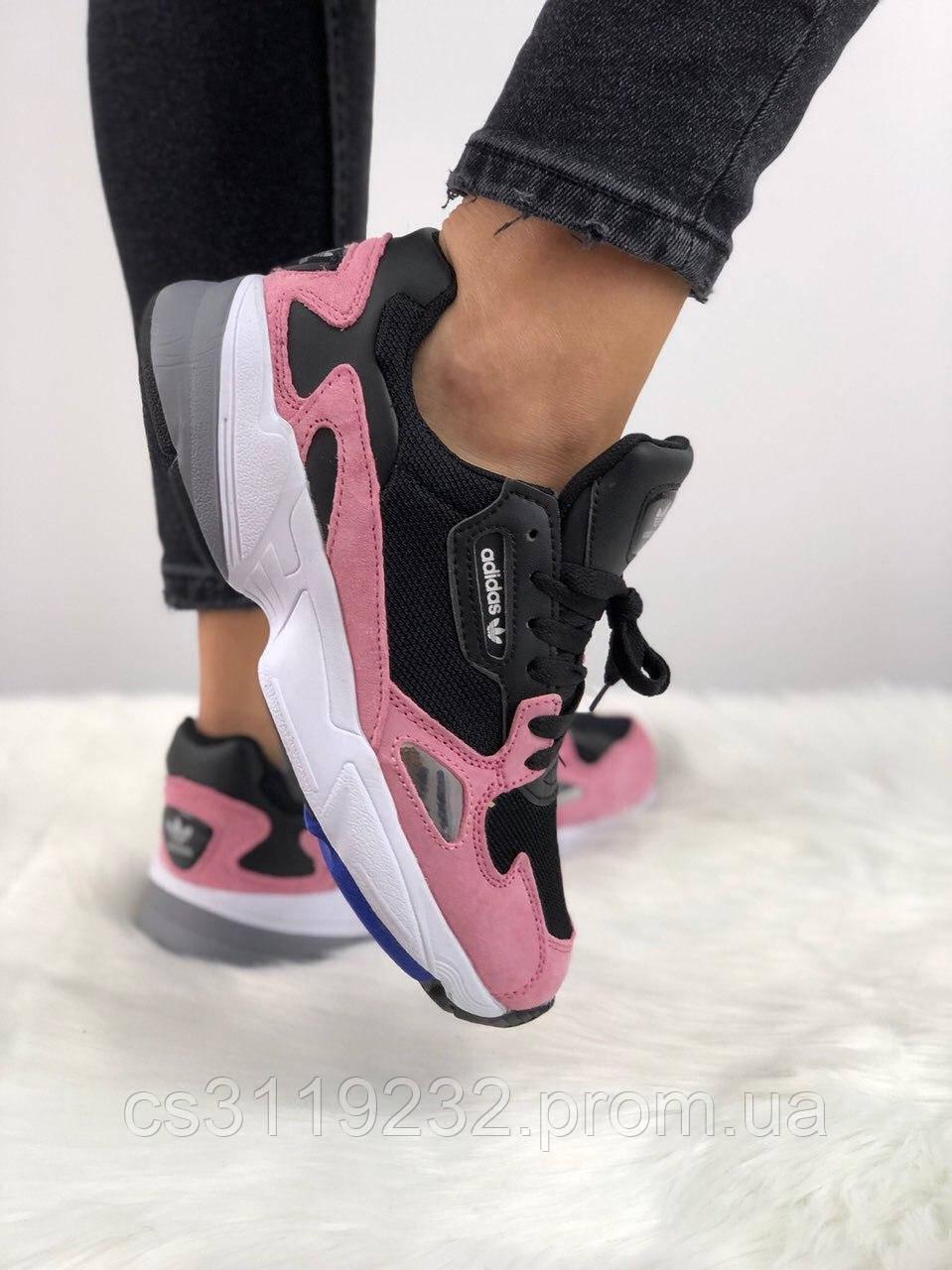 Женские кроссовки Adidas Falcon Black Pink White (черный/розовый/белый)