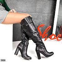 Шикарные кожаные сапоги на устойчивом каблуке 36,37,39 р чёрный, фото 1