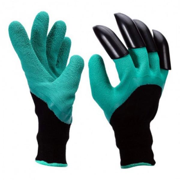 Садовые перчатки Garden Genie Gloves New с когтями Черно-бирюзовые (W/4670)