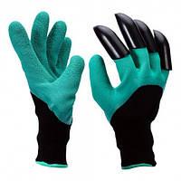 Садовые перчатки Garden Genie Gloves New с когтями Черно-бирюзовые (W/4670), фото 1