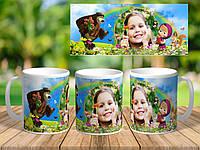 """Чашка с фото и поздравлением """"Маша и Медведь"""""""