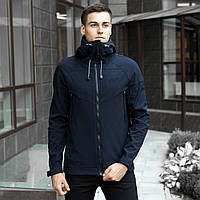 Мужская демисезонная куртка Pobedov Soft Shell темно-синяя