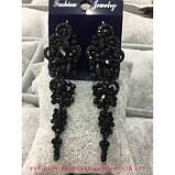 Вечерние  черные серьги с темно-синими камнями, высота 7,5 см., фото 3