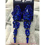 Вечерние  черные серьги с темно-синими камнями, высота 7,5 см., фото 5