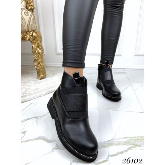 Женские ботинки черные демисезонные кожаные деми стильные нат кожа, жіночі чорні шкіряні черевики демі