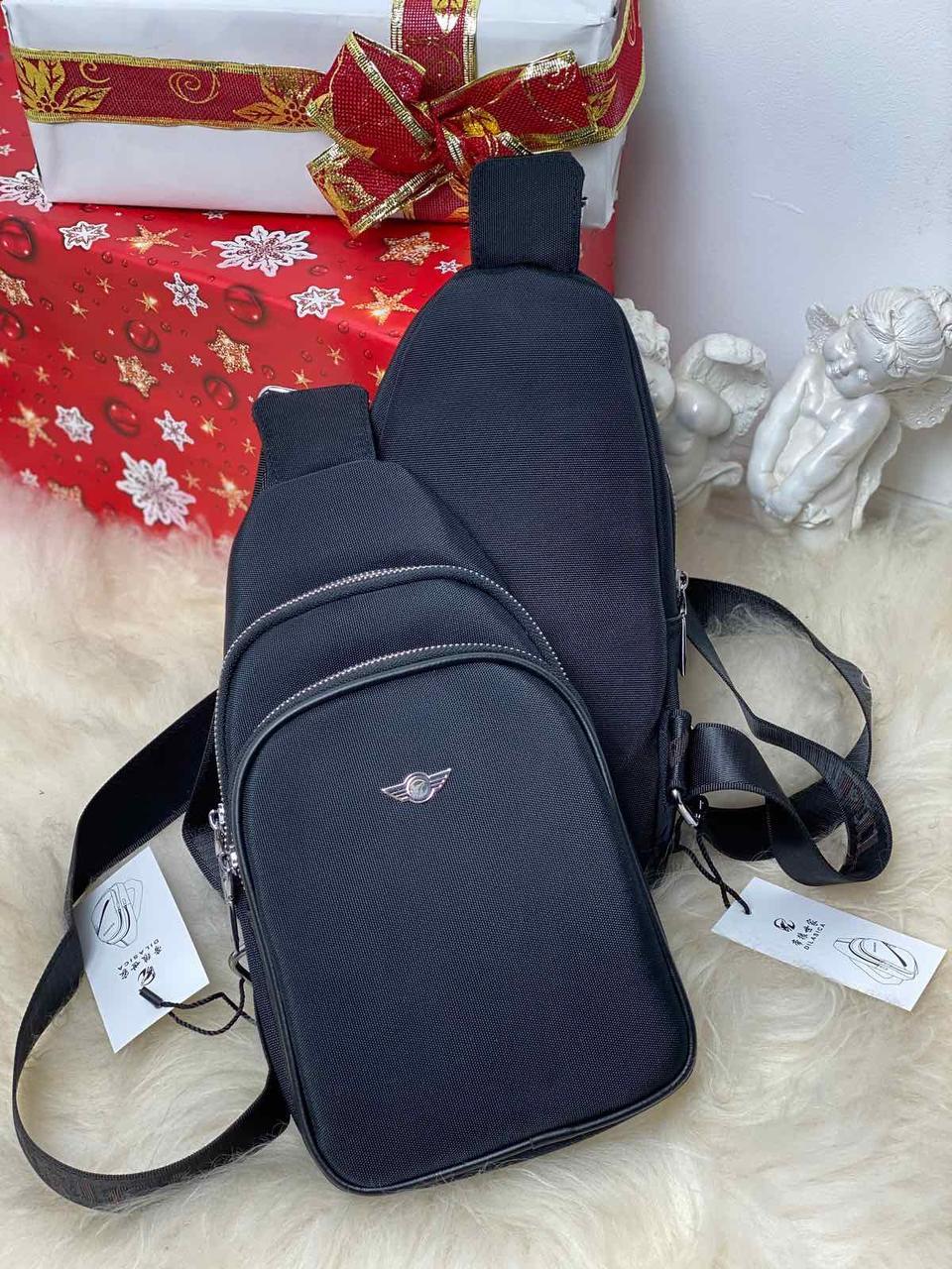 Мужская черная сумка слинг барсетка кросс-боди через плечо мессенджер текстиль