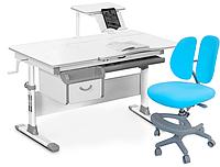 Комплект Evo-kids Evo-40 G Grey (арт. Evo-40 G + кресло Y-408 KBL)/(стол+ящик+полка+кресло)/ белая столешница,