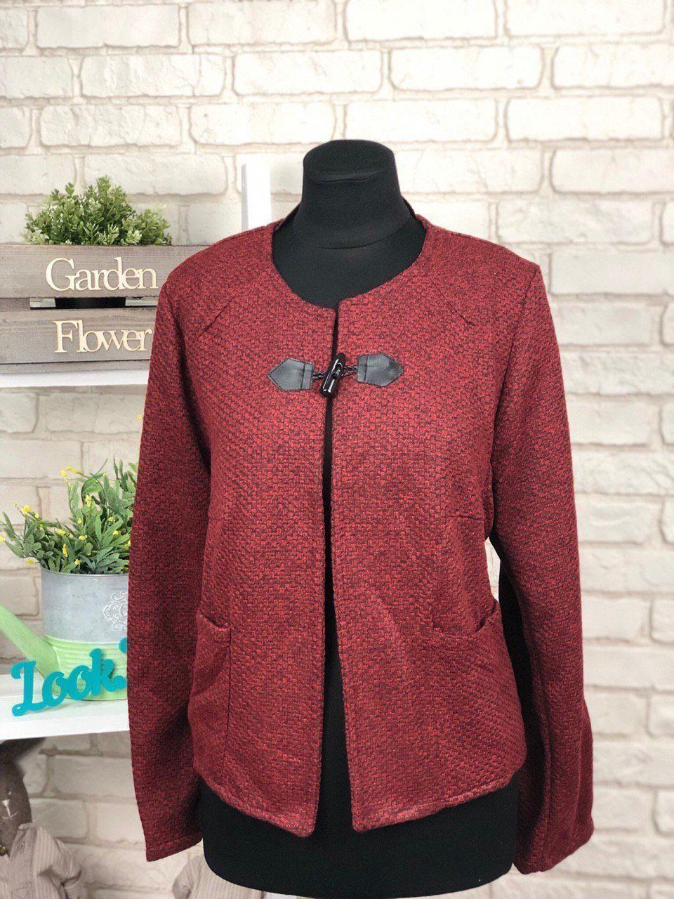 """Стильный женский пиджак со вставками из эко-кожи ткань """"Букле"""" 48, 50 размер батал"""