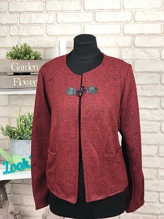 """Стильный женский пиджак со вставками из эко-кожи ткань """"Букле"""" 48, 50 размер батал, фото 2"""