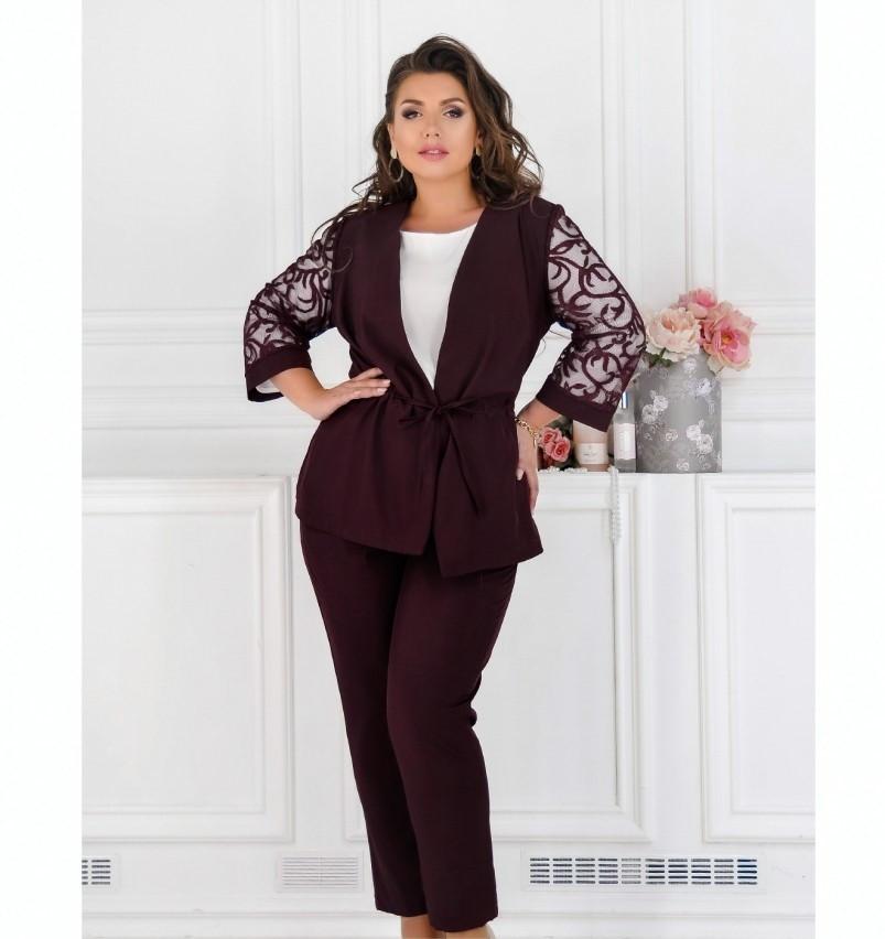 Нежный и элегантный костюм-тройка №684-бордо