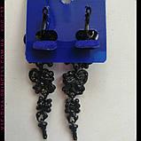 Вечерние  черные серьги с темно-синими камнями, высота 7,5 см., фото 2