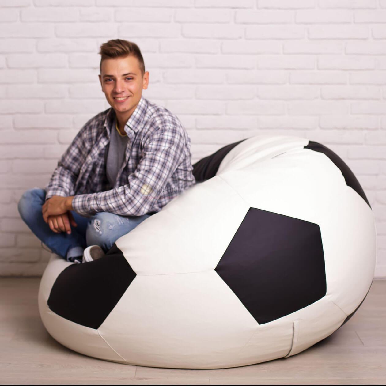 Кресло-мяч KatyPuf белое с черным Оксфорд, Размер 100см